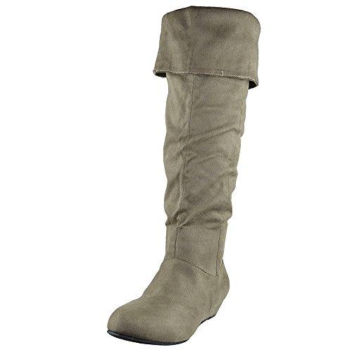 Genou Hautes Bottes Pli Sur Le Poignet Confort Plat Chaussures Taupe