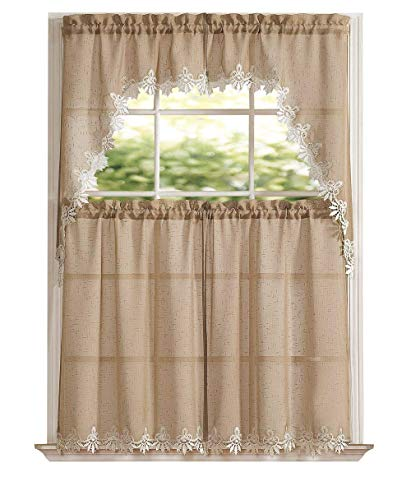 GoodGram Orchard Luxurious Matte Sheer & Macrame Kitchen Curtain Tier & Swag Set Assorted Colors (Taupe)