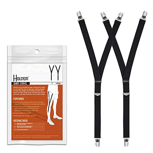 Hold'Em Premium Shirt Stays Ultra Soft Elastic with Extra Sturdy Strong Metal Clips -Y-Style