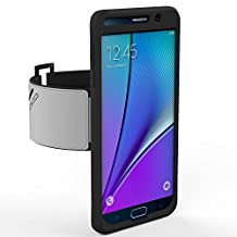 Galaxy Note 5 Armband, MoKo Silicone Armband for Samsung Galaxy Note 5 5.7 Inch 2015 release - Key Holder Slot, well-rounded protection, Perfect Earphone Connection while Workout Running, BLACK