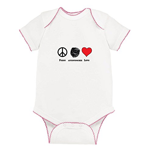 Affenpinscher Dog Peace Love Baby Kid Picot Fine Jersey Bodysuit White/Pink Picot Newborn