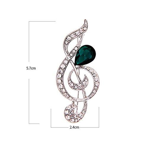 Wonvin Mujer Broche Blanco Nota Música 18K Oro Chapado de Cristal Diamante de imitación Precioso Regalo