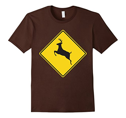 Mens Deer Crossing Traffic Road Street Sign T-Shirt Large Brown