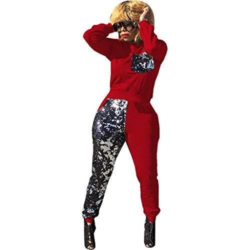Women Sequin Patchwork Glitter 2 Piece Outfit Tracksuit Long Sleeve Pullover and Long Pants Sweatpants Set Red