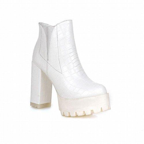 Carolbar Mujeres Fashion Zipper Crocodile Print Charms Plataforma High Chunky Tacón Botas Cortas Blanco