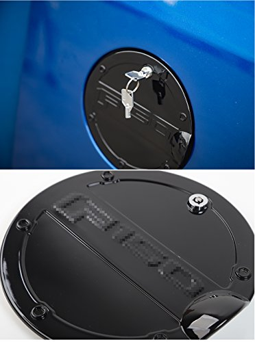 (Nicebee ABS+ Iron Safety Locking Fuel Tank Cover Oil Lip Sticker Gas Tank Cap with Key fit for Ford F150 2015 2016 2017 (Black))