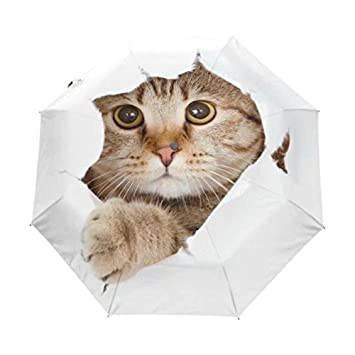 Cute Cartoon Cat Umbrella Rain Women Folding Umbrellas Female Sun Umbrella Parasol Lovely Paraguas White Sombrinha