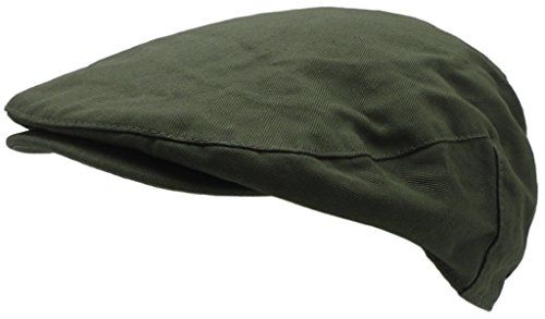 Wonderful Fashion Men's Cotton Front Button Flat Cap IVY Gatsby newsboy Hunting Hat (Olive)