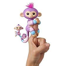 Fingerlings Baby Monkey & Mini BFFs - Violet & Hope (Mauve-Blue) - By WowWee