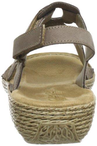 Rieker Damen 65863 Offene Sandalen mit Keilabsatz Beige (fango / 64)
