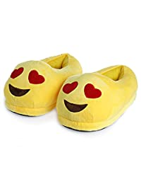 Chunlin Emoji Slippers - Cartoon Cute Smiley Faces - Warm Cozy Soft and Funny Comfort- Plush Stuffed Unisex Home Indoor Shoes