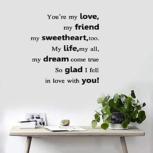 Wall Decal Wall Written Vinyl Wall Decals Quotes Sayings Words Art Deco Lettering You're My Love My Friend My Sweetheart Too My Life My All for Bedroom ()