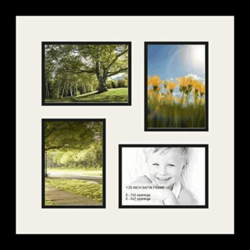 (ArtToFrames Double-Multimat-179-61/89-FRBW26079 Collage Photo Frame Double Mat with 4-5x7 Openings and Satin Black Frame, Super White, 4-5x7)