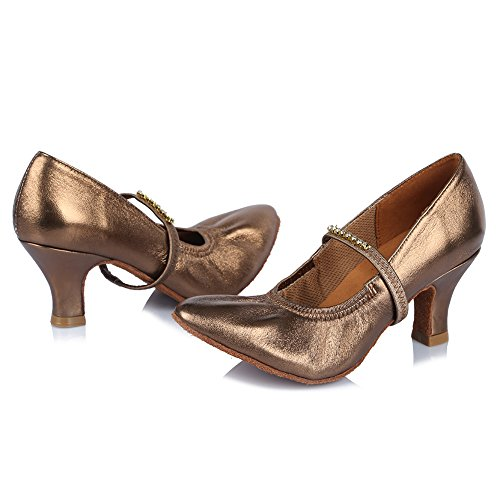 Rhinestone Latin Model Leather Bronze AF30515 US Shoes Ballroom 5 Shoes Tango 4 with Salsa Roymall Performance Dance Women's AwO0RqcWtp