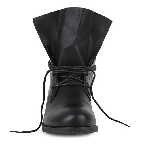 Boots Women's Desert Schwarz With Shoes up Lace Heel Block Black qrq0Ox
