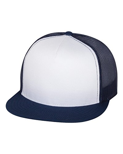 (Yupoong 6006W Unisex Adult Classic Two Tone Trucker Cap, White/Navy, One Size)
