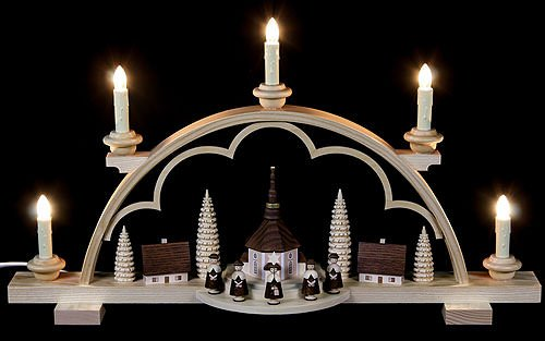 German candle arch Carolers small village, length 57 cm / 22 inch, natural, electrical illuminated (230V, 50Hz), original Erzgebirge by Mueller Seiffen MU 12524 by ISDD Cuckoo Clocks