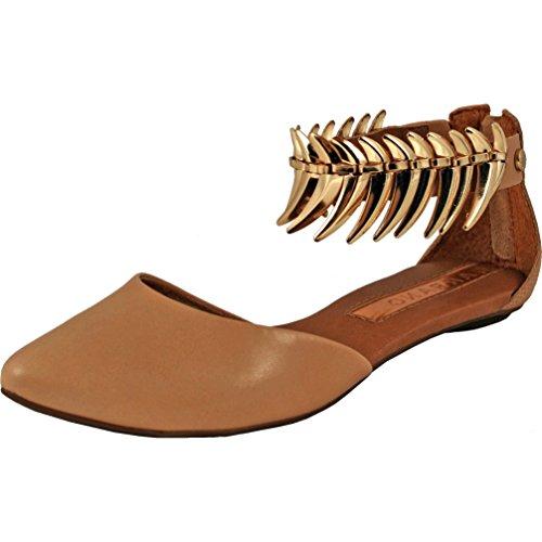 Sandalo In Pelle Con Cinturino Alla Caviglia Ornato Da Carrano Marie Beige
