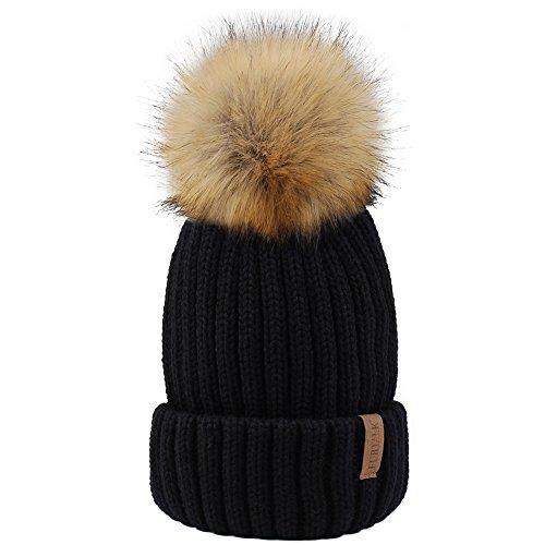 Fur Top Hat - Womens Knitted Winter Pom Beanie Hat Faux Fur Pom Pom bobble Hat beanie for girls,One Size Black