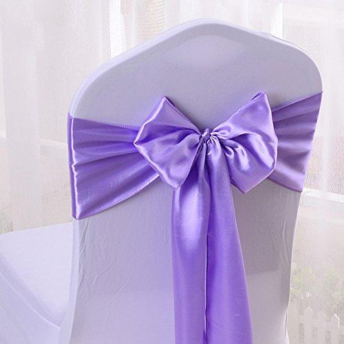 50pcs 17x275cm Satin Chair Bow Sash Wedding Reception Banquet