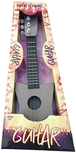 18″ MINI GUITAR WITH METAL STRINGS, 3 STRINGS & ADJUSTABLE TUNING PEGS GREAT FOR A BEGINNER ROCK STAR! COLOR GRAY