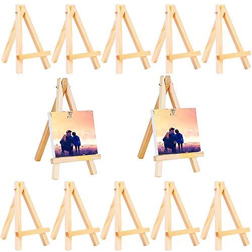 Mini Caballetes madera LLMZ 12 Pcs pequena madera caballete Tripode Caballete Foto Caballete para boda para Escritorio Pequeno Arte Decoracion de Mesa de Boda Cumpleanos Bautismo