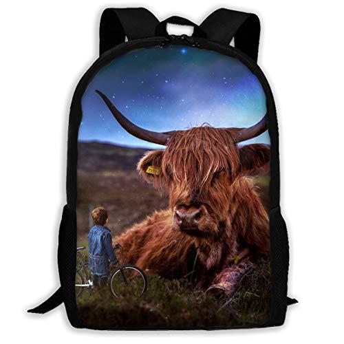290e5827022c DavenBag Fashion Shoulder Backpack Cow School Bag Lightweight Travel Large  Space Waterproof Outdoor Daypack Black