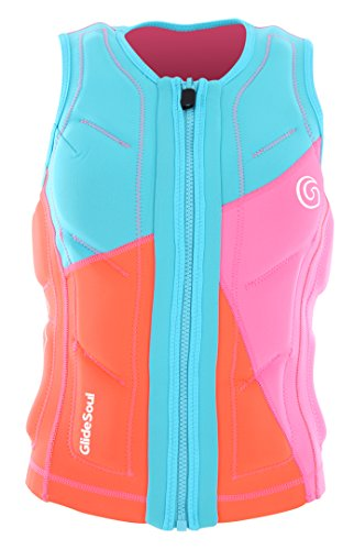GlideSoul Women's Flashback 74 Collection Reversible Impact Vest, Peach/Pink/Light Blue, Medium -
