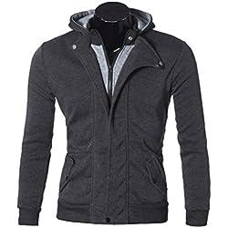 Hooded Sweatshirt,Hemlock Men's Tops Cotton Outwear Cardigan Zipper Jacket (XXL, Dark Grey)