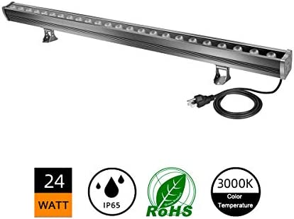 H-TEK 24W LED Wall Washer Light,3000K Warm White Commercial LED Bar Light, 120V, Easily Plug Play, 9.8ft Extra Long Plug-in Power Cord for Hotels, Villa, Resort, Ads, Church