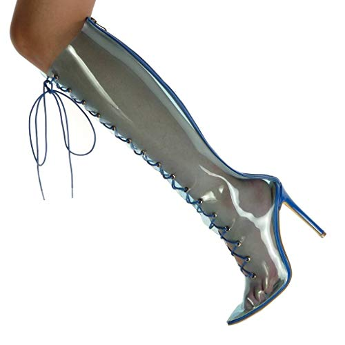 Transparent Angkorly Fashion Boots Stiletto Stiletto Heel Laces 11 Open Women's cm Blue high Shoes Soft Ar8nTAp
