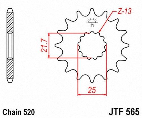 JT Pi/ñones pi/ñ/ón 18T Profundidad 520/Fino Dentada Interior 21,6/x 25/mm para Kawasaki ER/ /6/F 650