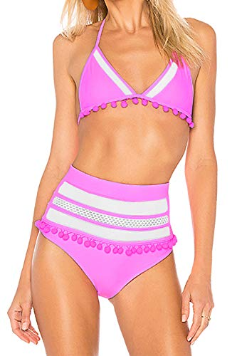 Sovoyontee Women's Women's 2 Pieces High Waisted Swimsuits Stripe Tassel Mesh Bikini Bathing Suits Pink-02 - Piece Stretch 2 Mesh