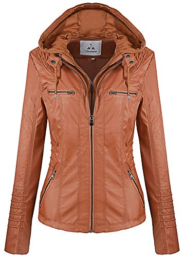 Hats Ladies Leather (Showlovein Women Hooded Faux Leather Jacket Hat Detachable Motorcycle Jacket (Medium, Brown))
