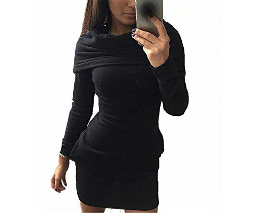 GUNCOI New Fashion Women Dress Long Sleeve Autumn and Winter Warm Dresses Party Club Solid Cotton Plus Size Women Clothing Black M
