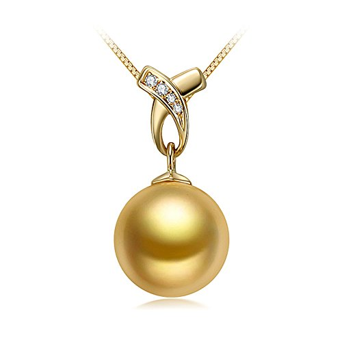 Or 10-11 mm AAA Qualité mer du sud 14 K Or jaune perle pendentif