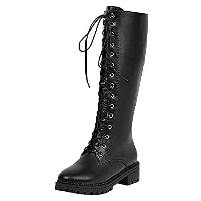 Zanpa Women Fashion Combat Boot Knee High Low Heels Lace up Tall Boots Party Boots Black Size 34