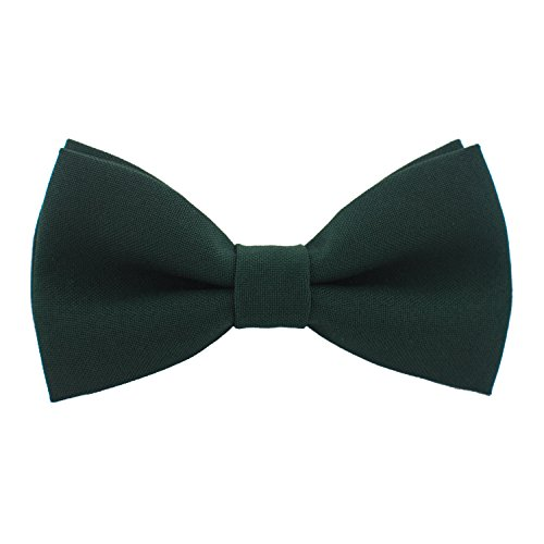 Classic Pre-Tied Bow Tie Formal Solid Tuxedo, by Bow Tie House (Large, Dark -