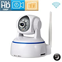 REDGO 1080P WiFi Wireless IP Security Camera for Baby Elder Pet Nanny Monitor, Plug to Pla,, Pan/Tilt, Two-Way Audio, Night Vision Home Surveillance Camera, White