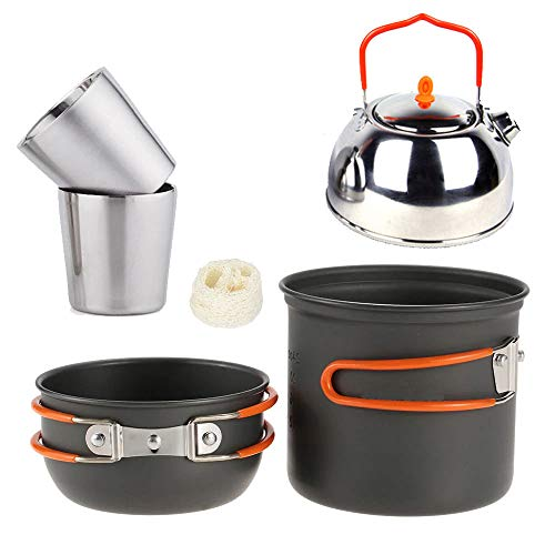 (Outdoor Camping Cookware Kit, Aluminum Pot Set Stainless Steel Teapot and Cup Combination Lightweight Portable for)