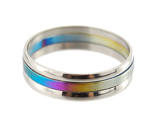 Rainbow Titanium Anodized - Heavy Metal Series - Stainless Steel Rings, Size 10.5 (20mm Inside), 3 Triple Separate Rings Rainbow Titanium Anodized + Mirror Finish