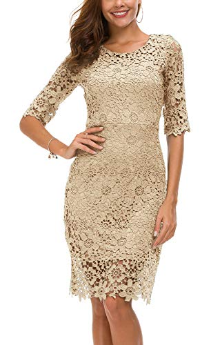 Urban CoCo Women's Lace Sheath Dress Slim Fit Midi Dress (XL, Apricot)
