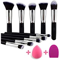 KYLIE Makeup Brushes Set Premium Synthetic Kabuki Foundation Face Powder Blush Eyeshadow Brush Makeup Brush Kit with Blender Sponge and Brush Cleaner (10pcs,Black/Silver)
