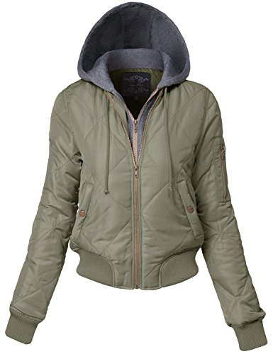(Luna Flower Women's Warm Hoodie Comfortable Quilted Bomber Jackets Olive Large (GJAW151))
