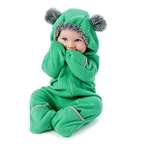 Clearance!!Toddler Infant Baby Girls Boys Cartoon Animals Romper Warm Hoodie Zipper Jumpsuit Party Costume Cosplay (Green, 6-12 Months)