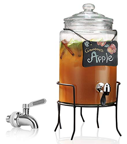 (Clear Glass Beverage Drink Dispenser with Chalkboard on Metal Rack Stand - 1.5 Gallon - Stainless Steel Leak Free Spigot Included - Home Bar & Party Centerpiece)