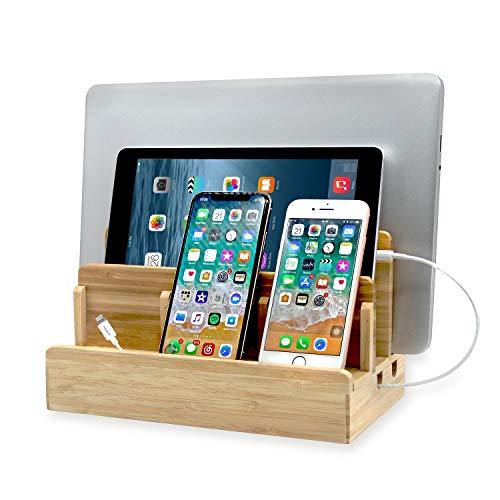 Originalidad Eco Bamboo Multi-Device Charging Station Dock, Desk Docking Station Organizer for Laptops, Tablets, and Phones