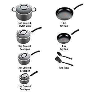 T-fal Ultimate Hard Anodized Nonstick 12 Piece Cookware Set, Dishwasher Safe Pots and Pans Set, Black