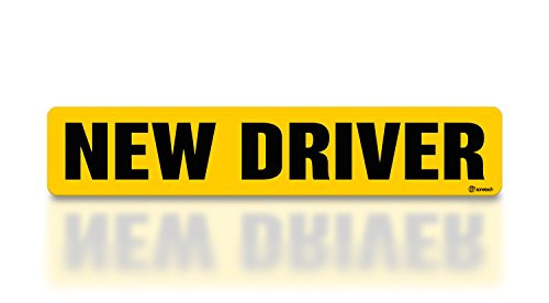 - Zone Tech New Driver Effective Car Magnet Black Block Lettering on Neon Yellow Background 3 X 12-1 Pack