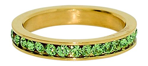 (Birthstone Eternity Ring~August~Gold Plated Stainless Steel~Cubic Zirconia CZ Band~Peridot~Light Green Crystals~Stackable~Mother's Ring~Children's Ring~Women's Jewelry (9))